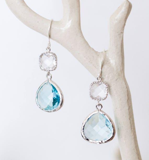 Silver blue crystal glass dangle earrings