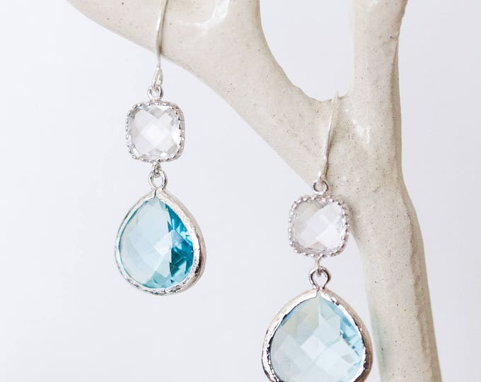 Silver blue crystal glass dangle earrings