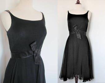 Vintage 1960s Mod GoGo Cocktail Party Dress / Black Chiffon, Hourglass Silhouette/ Little Black Dress LBD Sheath / 50s Bombshell Wiggle M