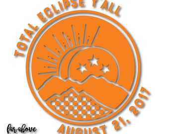 Tennessee Tristar Eclipse 2017 Total Eclipse Y'all Mountains Checkerboard SVG, EPS, dxf, png, jpg digital cut file for Silhouette or Cricut