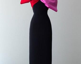 Vintage 1980s Dress - Vintage Bill Blass '80s Cake Topper Gown w/ Amazing Sculptural Satin Bust Piece // Waist 24