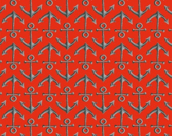 Beach Fabric Cotton Quilting High Tide Red Anchors 42819-3  (1/2 yd) cuts Quilting Sewing Crafting Fabrics Material Quilts