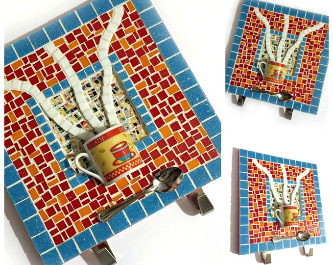 Mosaic Coffee Cup Art, Red Blue Mosaic Cafe Latte Art, Mixed Media Coffee Art with Hooks, Coffee Cup Art, Coffee Lover Kitchen Mosaic Art