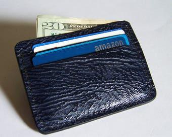 Navy Blue Sharkskin Leather Wallet/Credit Card Case - Use for Credit Cards, Drivers License etc. - Genuine Navy Blue Sharkskin