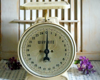 Vintage Metal Scale - 1960s Way Rite Kitchen Scale -Farmhouse Metal Scale -Utility Scale - Made in USA - 25 Lb Capacity Food Vintage