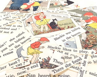 ephemera pack childrens book illustrations vintage 1930s 1920s graphics typography paper lot . girl NAN cat Blackie . collage . altered art