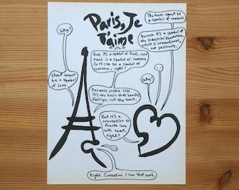 Paris, Je T'aime original illustration - humour & semiotics (rummage sale)
