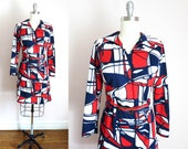 Vintage Mod Dress   1970s Red White Blue Abstract Print Dress L Deadstock