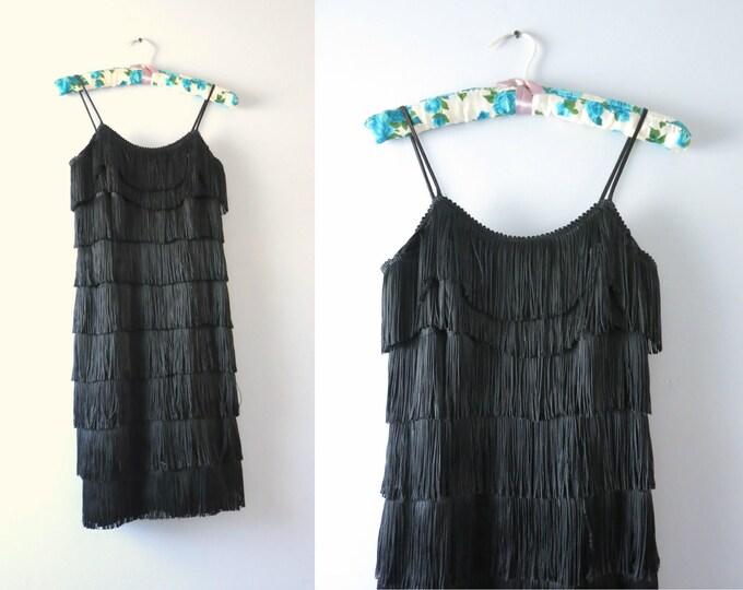 Vintage Black Flapper Dress | 1990s Black Fringed Deco Mini Flapper Dress XS