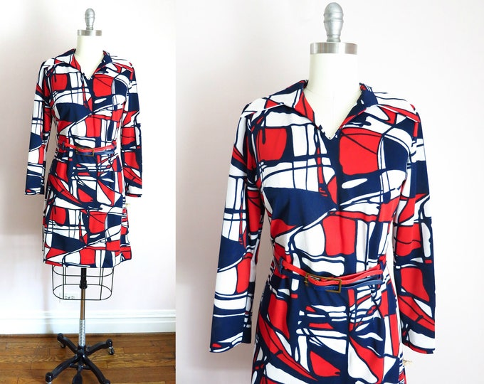 Vintage Mod Dress | 1970s Red White Blue Abstract Print Dress L Deadstock
