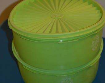 Pair of vintage lime green Tupperware Containers, Sunburst lids