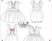 NEW Alice Dress and Romper PDF Pattern for girls, Sizes 2T, 3T, 4T, 5, 6, 7, 8,  10, 12
