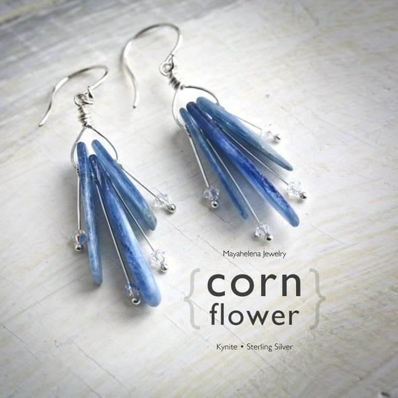 Cornflower - Kynite Sterling Silver and AB Crystal Modern Dangle Earrings