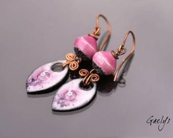 RosePink - earrings ceramic raku pottery and enamels on copper - mouse - Style Bohemian, nature - bo Gaelys