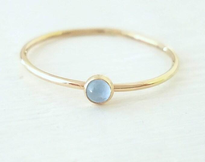 Gold Blue Topaz Ring