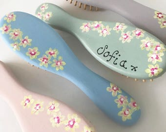 Child's Hairbrush Pretty Hand Painted Flowers