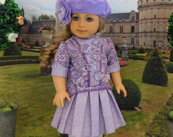 Paisley Courtyard - Edwardian dress, beret and bloomers with shoes for American Girl doll