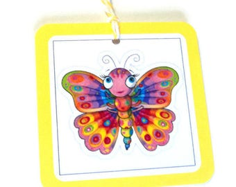 2 Colorful Butterfly Gift Tags, Blue Red Green Yellow Tags, Hang Tags, Party Favor Tags
