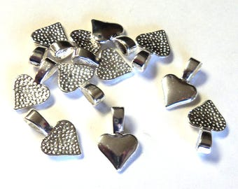 11 Silver Plated 15mm Heart Earring/Pendant Bails, Jewelry Components, Findings Takuniquedesigns