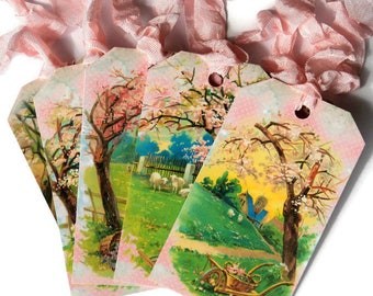 6 Springtime Country Scene Gift Tags, All Different Designs,  Note Tags, Hang Tags, Merchandise, Party Favor Tags, Takuniquedesigns