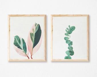 Print Set of 2, Plant Prints, Leaf Wall Art, Botanical Art, Bedroom Wall Decor