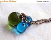 50%OFF Green and Blue Glass Marble Pendant  Lampwork Glass Drops  Forest Green, Aqua Blue  Long Charm Necklace  Spring Fashion  Gift Box