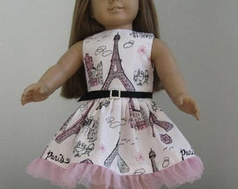 Summer Sale 20% Off Doll Clothes Made For AMERICAN GIRL DOLLS  Paris Dress and Belt Fits American Girl Dolls  Fit American Girl Dolls