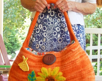 French Sunflower - A Large Felted Bag in a Deep Orange Color with Sunflower Embellishments