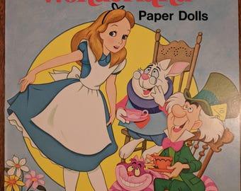 Alice in Wonderland Vintage Paper Doll Books Uncut • 1976 Walt Disney