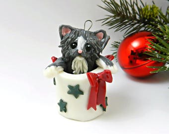 Maine Coon Persian Cat Gray White Christmas Ornament Figurine in Bag Porcelain