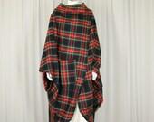 plaid wrap jacket, wool cocoon coat, cloak