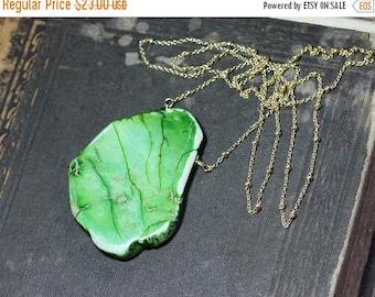 SALE Map Jasper Necklace Gold Chain Green Gemstone Pendant Impression Imperial Jasper Slab Pendant Necklace
