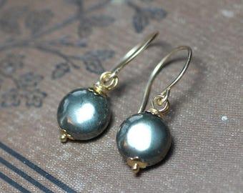 SALE Pyrite Earrings Gold Wire Wrapped Bronze Gemstone Earrings 14k Gold Filled Earrings