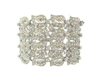 Vintage Wide ORA Designer Bracelet, Bridal Rhinestone Statement Jewelry, 1940s Fine Wedding Jewelry, Vintage Jewellery