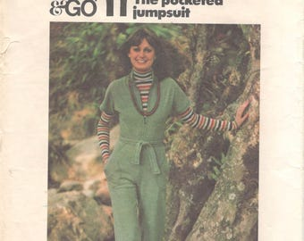 1970s Butterick 4380 Misses Sew & Go Zip Front Pocketed JUMPSUIT Pattern for Knits Womens Vintage Sewing Pattern Size 12 Bust 34