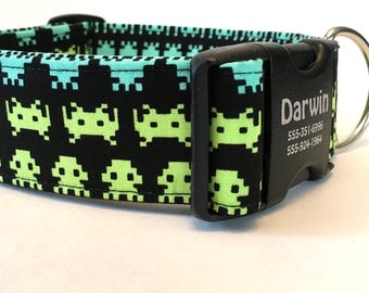 """Atari System Video Vintage Game Extra Wide 1.5"""" Collar Pet ID Laser Engraved Buckle Lime Green Turquoise Colorful 1980's Style Arcade"""