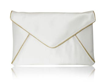 Ivory and gold bridal wedding satin envelope clutch handbag purse KATERINA