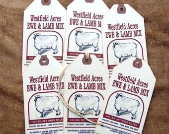Primitive Sheep Lamb Feed Mix Feedsack Gift or Scrapbook Tags #1279
