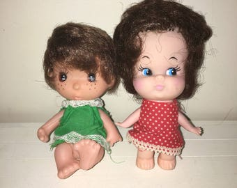 Cute Vintage Lot of 2 Little Dolls Hong Kong Big Eyes & Head