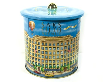 Vintage Saks Fifth Avenue Round Metal Canister