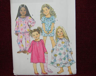 Uncut Butterick Pattern Very Easy Girl's Pajama Top, Shorts, Pants and Nightgown
