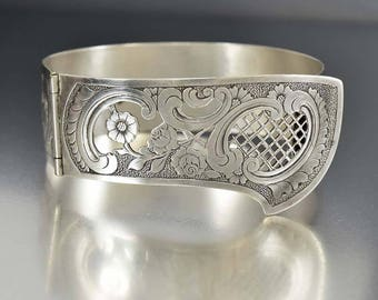Antique Silver Engraved Bracelet, Flower Cut Out Victorian Hinged Bracelet, 1800s Antique Jewelry, Stacking Silver Cuff Bracelet Bangle