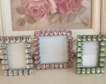 Vintage Clear Pink Green Set of Three Rhinestone Picture Frames - Shabby Chic Decor - Wedding Decor