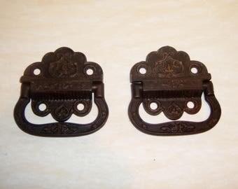 Antique Iron Handles Victorian Aesthetic Hardware cast metal bail pulls patent 1871 door drawer trunk furniture