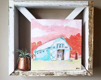 Pink barn original, original painting, barn painting, painting of a barn, sunset barn, red trees, blue barn, red and teal