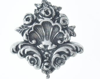 Charm, metal Stamping, 43x47mm Rose Bouquet Flourish, sold by each 03219CS