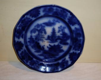 Antique Flow Blue Plate Flowing Cobalt Staffordshire Ironstone English Adams Stoke Trent