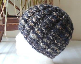 Handspun Cable Beanie. Black, Gray and Light Tan Variegated Knit Hat. Corriedale Wool Beanie. Self Striping. Boyfriend Gift. Girlfriend Gift