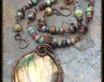 Sunray Labradorite gemstone pendant necklace~ready to ship~ fancy jasper wire wrap~ wire weaver,Free Shipping in the USA