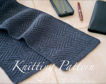 Lamberhurst Scarf - Knitting pattern - Mens scarf - Reversible - Instant download